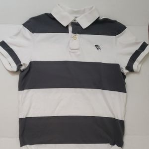 Men's L Abercrombie & Fitch Striped Muscle Polo